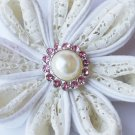 10 Rhinestone Pearl Button Light Rose Pink Crystal Hair Flower Clip Wedding Invitation BT118