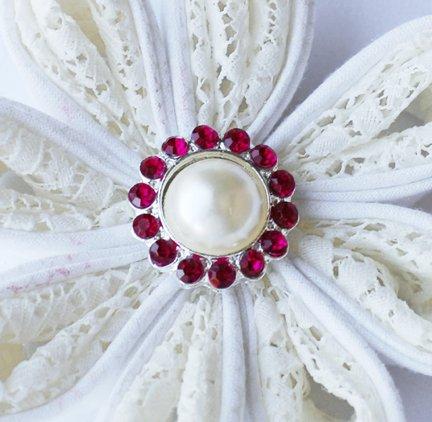 10 Rhinestone Pearl Button Fuchsia Hot Pink Crystal Hair Flower Clip Wedding Invitation BT117