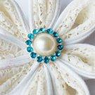 10 Rhinestone Pearl Button Teal Blue Crystal Hair Flower Clip Wedding Invitation BT116