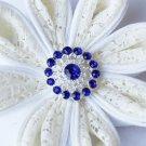 10 Rhinestone Button Dark Sapphire Blue Crystal Hair Flower Comb Wedding Invitation BT107