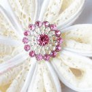 10 Rhinestone Button Light Rose Pink Crystal Hair Flower Comb Wedding Invitation BT125