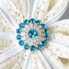 10 Rhinestone Button Teal Blue Crystal Hair Flower Comb Wedding Invitation BT129