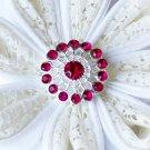 10 Rhinestone Button Fuchsia Hot Pink Crystal Hair Flower Comb Wedding Invitation BT124