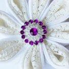 10 Rhinestone Button Dark Amethyst Purple Crystal Hair Flower Comb Wedding Invitation BT128