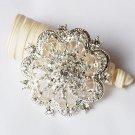 1 pc Rhinestone Crystal Diamante Silver Flower Brooch Pin Jewelry Wedding Cake Decoration BR072