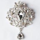 1 pc Rhinestone Crystal Diamante Silver Flower Brooch Pin Jewelry Wedding Cake Decoration BR078