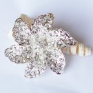 1 pc Rhinestone Crystal Diamante Silver Flower Brooch Pin Jewelry Wedding Cake Decoration BR081