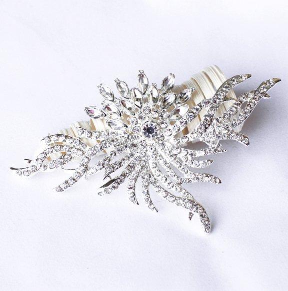 1 pc Rhinestone Crystal Diamante Silver Flower Brooch Pin Jewelry Wedding Cake Decoration BR082