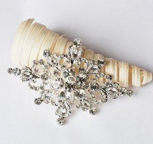1 pc Rhinestone Crystal Diamante Silver Flower Brooch Pin Jewelry Wedding Cake Decoration BR083