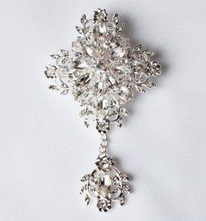 1 pc Rhinestone Crystal Diamante Silver Flower Brooch Pin Jewelry Wedding Cake Decoration BR098