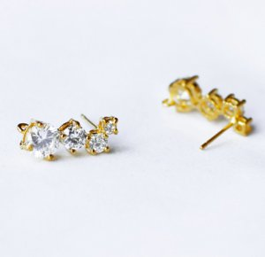 10 pcs Multi Cubic Zirconia Earring Earstuds Clear Crystal Rhinestone Gold Plated EF015