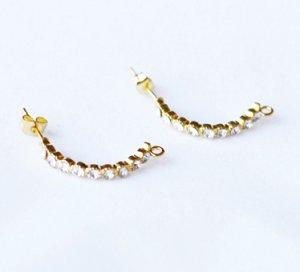 10 pcs Clear Crystal Earring EarstudsRhinestone Gold Plated EF023