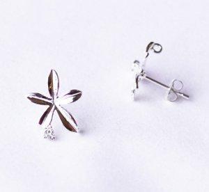 10 pcs Single Flower Earring Earstuds Clear Crystal Rhinestone Silver Plated EF030