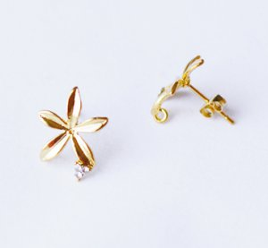 10 pcs Single Flower Earring Earstuds Clear Crystal Rhinestone Gold Plated EF017