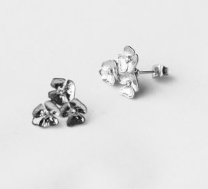 10 pcs Triple Flower Earring Earstuds Clear Crystal Rhinestone Silver Plated EF028