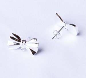 10 pcs Ribbon Bow Earring Earstuds Silver Plated EF031
