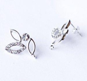 6 pcs Clear Crystal Earring EarstudsRhinestone Silver Plated EF033