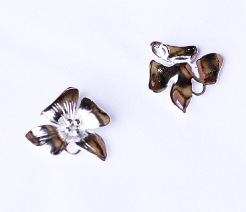 10 pcs Flower Pendant Charm Connector Silver Plated AC061
