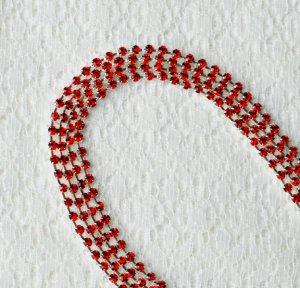 3 Feet/1 Yard SS8 2.5mm Ruby Red Rhinestone Chain Crystal Silver Wedding Cake Banding RC025