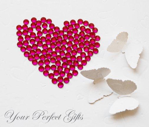 100 Acrylic Faceted Fuchsia Hot Pink Rhinestone 11mm Wedding Invitation scrapbooking LR137