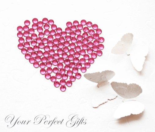 100 Acrylic Faceted Flat Back Rose Pink Rhinestone 11mm Wedding Invitation scrapbooking LR140