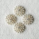 "100 pcs Rhinestone Crystal Pearl Button Round 1.2"" Hair Clip Wedding Invitation Bridal Bouquet BT132"
