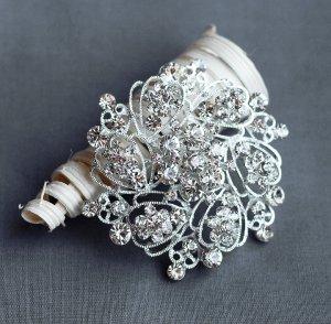"""1 pc Rhinestone Brooch 2.5"""" Crystal Wedding Invitation Cake Bouquet Decoration BR112"""