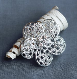 "1 pc Rhinestone Brooch 2"" Crystal Clip Pin Wedding Cake Decoration Invitation BR114"