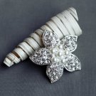 "1 pc Rhinestone Brooch 2"" Crystal Pearl Wedding Invitation Cake Bouquet Decoration BR109"