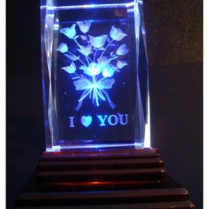 """I Love You Roses Laser Etched 3D Crystals. Size: 2""""x2""""x3"""""""