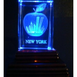 "New York Big Apple World Trade Center Statue of Liberty Laser Etched 3D Crystals. Size: 2""x2""x3"""