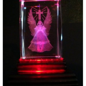 "Angel and Cross Laser Etched 3D Crystals. Size: 2""x2""x3"""