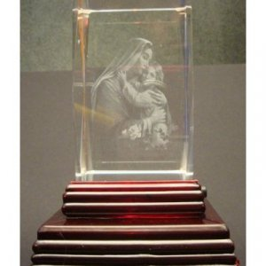 """Mary with Child Jesus Laser Etched 3D Crystals. Size: 2""""x2""""x3"""""""