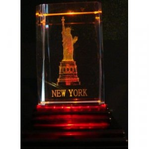 "Statue of Liberty Laser Etched 3D Crystals. Size: 2""x2""x3"""