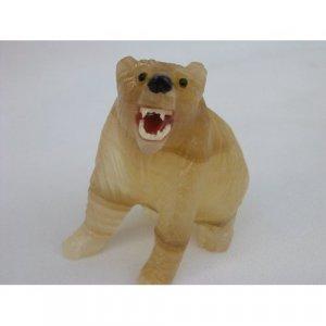 Natural Stone Aragonite Bear Figurine 3.0