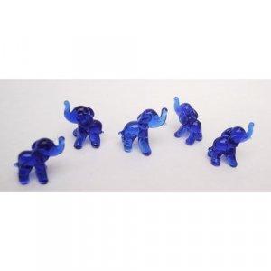 "Set of Five Blown Blue Glass Elephant Figurine Set 0.5""h"