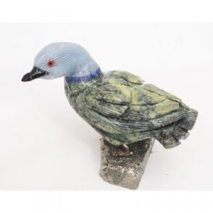 Natural Gemstone Serpentine Duck Carving Figurine 2.5""