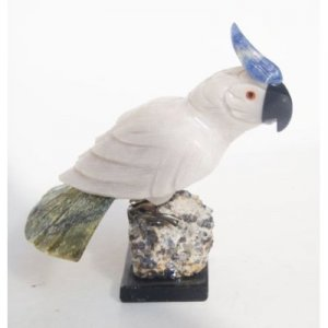 """Natural Gemstone Aragonite Cockatoo Carving Figurine 4.0"""""""