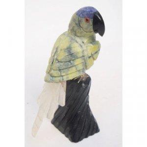 "Natural Gemstone Parrot Carving Figurine 4.5"""