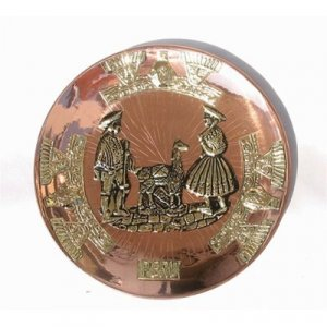 """PERU LIGHT WEIGHT COPPER BATHED DECORATIVE PLATE 9"""" DIAMETER WITH LLAMA AND SHEPHERD PEOPLE MOTIF"""