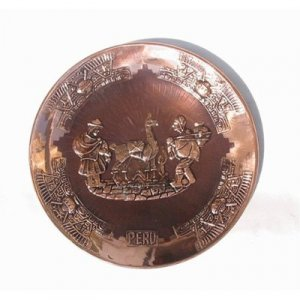 """PERU LIGHT WEIGHT COPPER BATHED DECORATIVE PLATE 9"""" DIAMETER WITH SHEPHERD PEOPLE AND LLAMA MOTIF"""