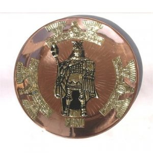 "PERU LIGHT WEIGHT COPPER BATHED DECORATIVE PLATE 10.5"" DIAMETER. WITH INCAN WARRIOR MOTIF"