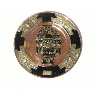 "PERU LIGHT WEIGHT COPPER BATHED DECORATIVE PLATE 10.5"" DIAMETER WITH TUMI MOTIF"