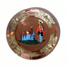 "PERU LIGHT WEIGHT COPPER BATHED PLATE 10.5"" DIAMETER LLAMA AND SHEPHERD PEOPLE MOTIF"