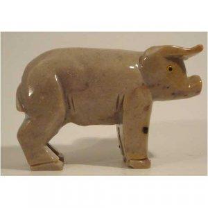 "Soapstone Pig Figurine 4.0""h x 6.0""w Pig Stone Carving"