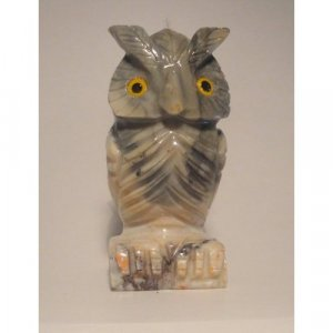 "Soapstone Owl Figurine 3.25""h Owl Carving"