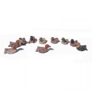 10 Piece Hand Carved Soapstone Miniature Duck Figurines