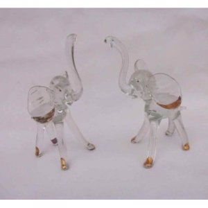 Glass Elephant Delightful Pair Statuette Set