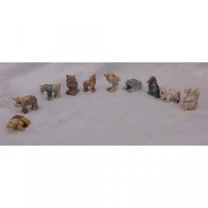 10 Piece Hand Carved Soapstone Miniature Animal Figurines