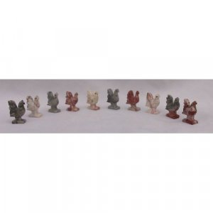 10 Piece Hand Carved Soapstone Miniature Rooster Figurine